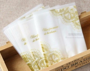 50pcs/lot 9*11.5cm Gold Lace Frosted Plastic Gift Candy bags Cake , Biscuit ,Cookies Baking Packaging Bags
