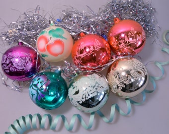 Vintage Set Of 7 Soviet Christmass Colored Balls Christmass Decoration Soviet New Year Decor Blown Glass Mercury 1978