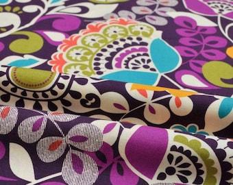 Funky Pure Cotton Retro Fabric Plum Purple Flower Paisley Foliage