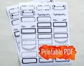 Bullet Journal Printable PDF - Decorative Borders Headers Banners and Boxes for Planner or Bullet Journal Printable Stickers Black Ink