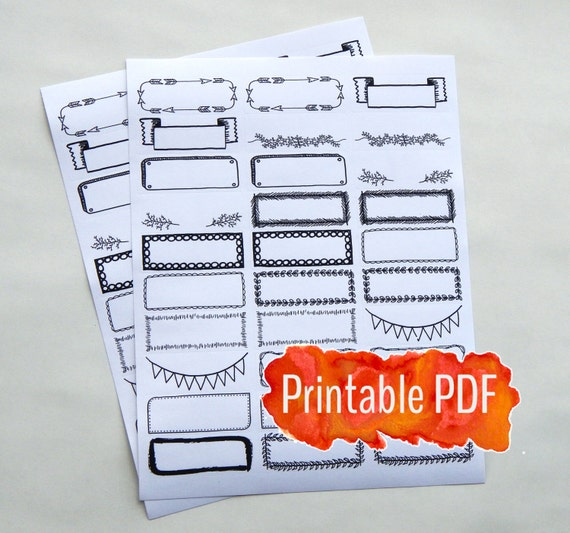 Bullet Journal Printable Pdf Decorative Borders Headers