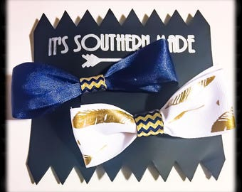 Feather Bow Collection in Navy and Gold