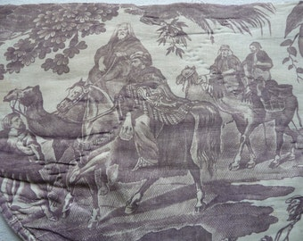 Antique French Fabric toile de jouy fabric classical French fabric the 3 kings ride into Bethlehem