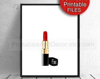 Printable Red Lipstick Poster, Makeup, Fashion Poster, 5x7 8x10 11x14 A4 A3