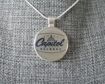 Recycled vinyl record sleeve necklace - Capitol Records!""