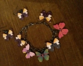 Discount gemstone bracelet and earrings butterflies