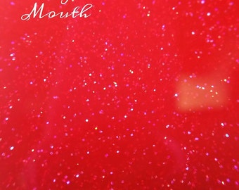 Hush Your Mouth (Bright Red Holographic Glitters Long Lasting Handmade Indie Nail Polish)