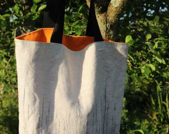 Lovely lined linen tote bag