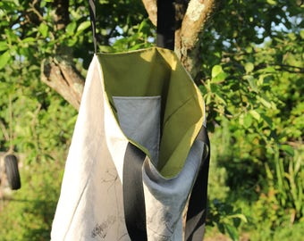 Lovely Lined Linen and Canvas Tote Bag