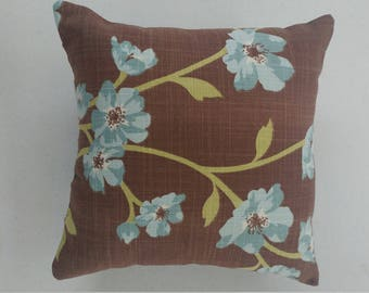 10x10 Chocolate Blue Pillow