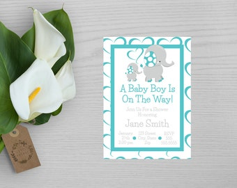 Elephant Baby Boy Baby Shower Invitation-Baby Boy Shower Invitation-Elephant Baby Shower Invitation-Gray and Teal Shower Invitation