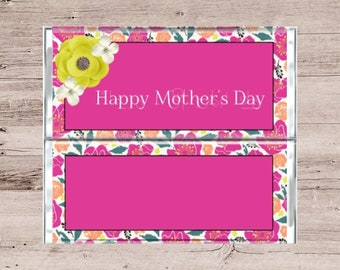 Pink and Yellow Flowers Chocolate Bar Wrapper-Pink and Yellow Candy Bar Wrapper-Happy Mothers Day Chocolate Bar Wrapper-Mothers Day Candy