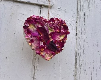 Petal Heart Decoration, hanging heart, dried flowers, dried petals, mothers day gift, home decor, wedding decoration, wooden