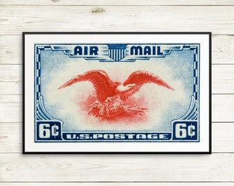 Large american eagle posters, US bald eagle prints, US Air Mail stamps, huge blue wall art, US postage stamp art prints, Fourth of July gift