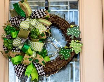 St Patricks Day Wreath, Spring Wreath, St Patricks Day Grapevine, Wreath, Leprechaun Wreath, Irish Wreath, St Patty's Day Wreath