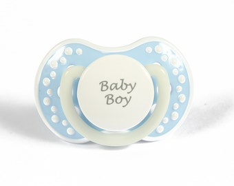 DDLG Adult baby pacifier. ABDL pacifier with the words baby boy. Glow in the dark adult dummy in baby pink and white - nuk 3