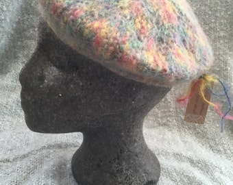Hand knitted felted beret