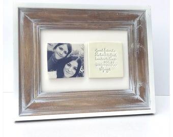 Cottage wood 2 tile photo frame