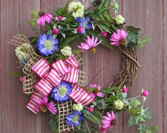 Easter Wreath, Rustic Spring Wreath, Summer Wreath, Wildflower Wreath, Summer Wreath, Front Door Wreath, Welcome Wreath, Garden Wreath