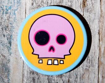 Skull Fridge Magnet Bottle Opener Pink/Orange
