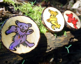 Grateful Dead Dancing Bears pyrography wooden magnets