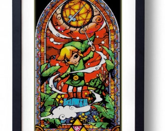 The Legend of Zelda - Link Stained Glass Wind Waker (Cross stitch embroidery pattern pdf)