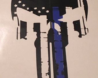 Thin Blue Line Punisher Skull Decal, Blue Lives Matter Decal, Punisher Decal, FREE SHIPPING!