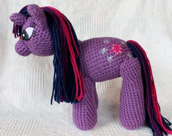 My Little Pony Inspired Twilight Sparkle Plush, Crochet Twilight Sparkle, Amigurmi, MLP plush, stuffed animal, knitted stuffie