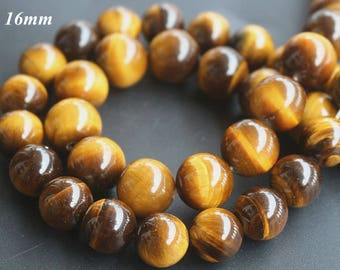 "Tigereye  beads,Natural Yellow Tigereye Beads 16mm,Smooth and Round Gemstone Beads,15 "" one strand"