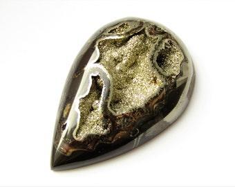 Rare beautiful pyritized geode fossil cabochon from Russia 68х44х8 mm