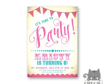 Fun 8th Birthday Party Invitation / Girl's Birthday / Kid's Birthday / Party Invite / Pink / Turquoise / Party Banner / Any Age / 95a