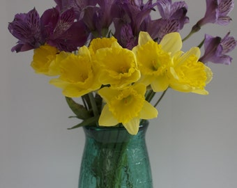 Hand blown Glass Vase: Textured green glass