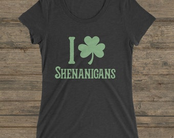 I Shamrock Shenanigans T-Shirt - Soft Triblend Heather - St. Patrick's Day Tee Shirt - St Paddys Shenanigan Shirt