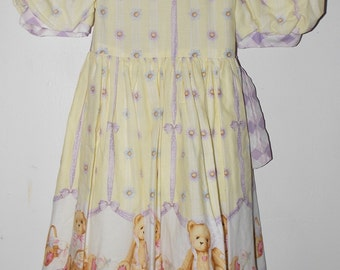 hand made dress with teddy bear print out