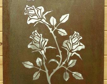 Rose Botanical Steampunk Metal Art Wall Hanging