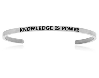 Silver Plated Stainless Steel Knowledge Is Power (.005ct) Diamond Cuff Bracelet