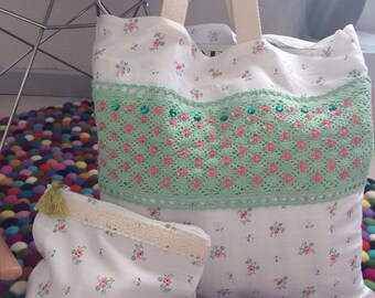 Tote Bag embroidered liberty fabric with its unique cover