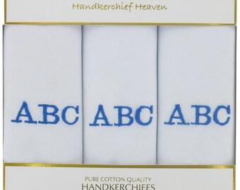 Personalised Mens  Handkerchiefs - Box of 3 Handkerchiefs - Handkerchief - Wedding Handkerchief - Choose Three Initials - BLUE