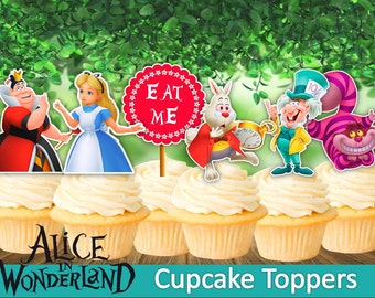 8 Alice in Wonderland Cupcake Toppers, Printable, Alice in Wonderland Party, 2,5 inches, 8 Toppers, Children Party