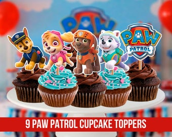 9 Paw Patrol Cupcake Toppers, Printable, Paw Patrol Party, Children Party, 2,3 inches tall, Digital, Instant Download