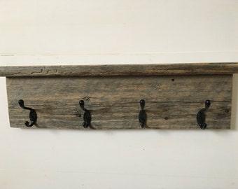 Barnwood Coat Hook Board with Shelf