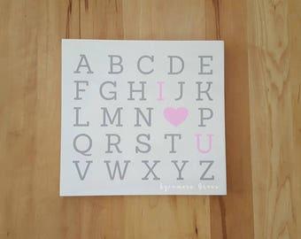 SALE, Nursery abc wall art, alphabet sign, girl nursery, pink and grey nursery, I love you sign, baby shower gift, nursery decor, playroom