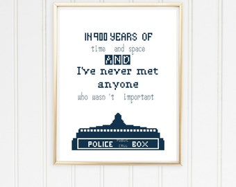 Dr Who cross stitch pattern/doctor who craft/police box dr who/doctor who quote/dr who quote pattern/in 900 years of time/#12-003