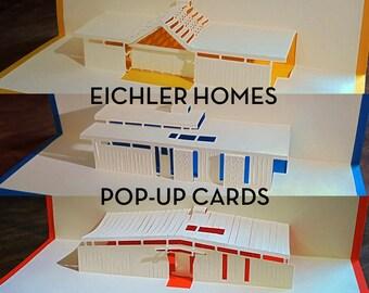 Mid century modern Eichler Homes pop-up greeting cards (set of 6)