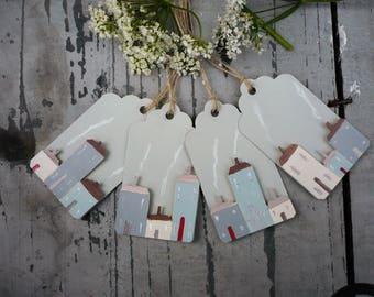 4 gift tags with hand painted houses, gift tags, tags,
