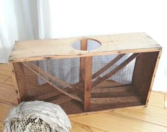 Rustic wood and wire beekeeping box vintage honeybee honey apiary beehive