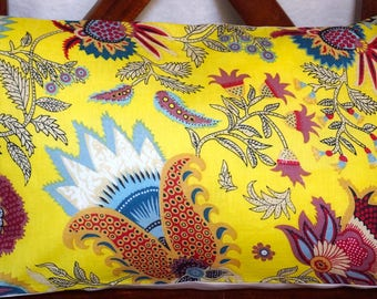 Spring 13 series: Cover 30x50cm (12 x 20 inches) cushion, cotton yellow floral, linen.
