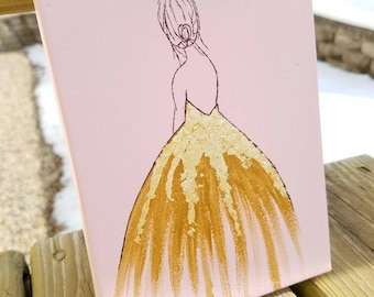Feminine Ball Gown Gold Leaf Painting