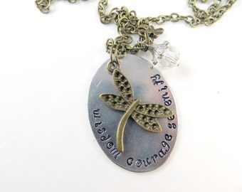 Clearance - Hand stamped serenity necklace