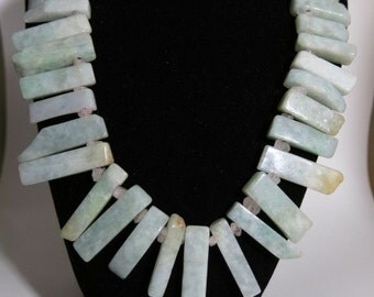 "Chunky Statement Green Aventurine ""Fan"" Necklace with raw rose quartz crystals"